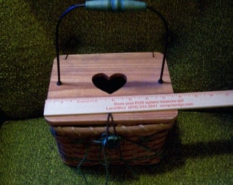 Wood and Wicker Sewing and/or Craft basket