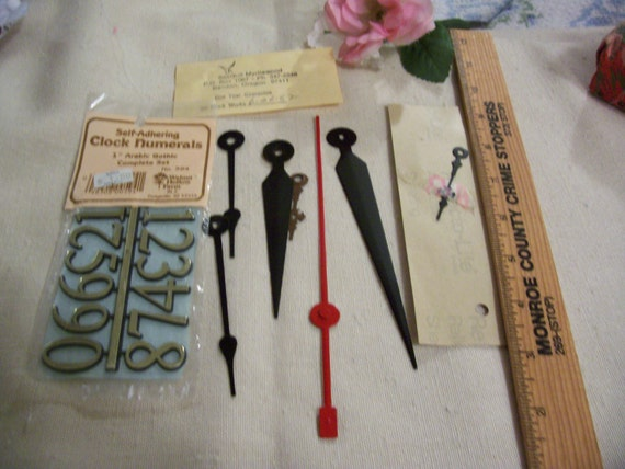 Vintage Clock parts - supplies - 80's - 7 assorted Hands and 2 packs of Numbers