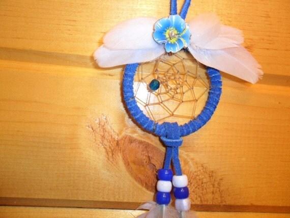 Dream Catcher - Blue with mallard feathers