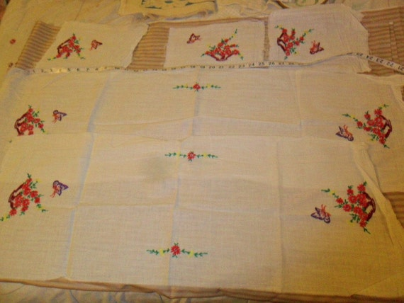 5 Piece Vintage Embroidered Table runners and/or dresser scarves to finish
