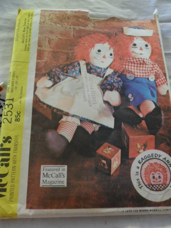 Vintage 1970 McCall's Pattern 2531 - Raggedy Ann and Ragedy Andy Stuffed DOlls and their clothes