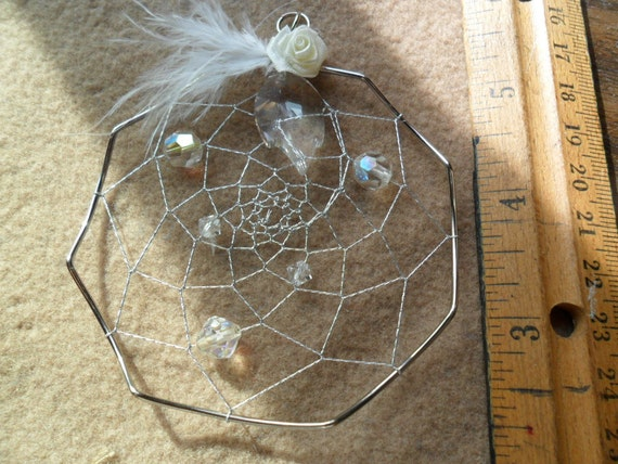 Dream Catcher - One of a Kind - Vintage beads - Silver metallic thread