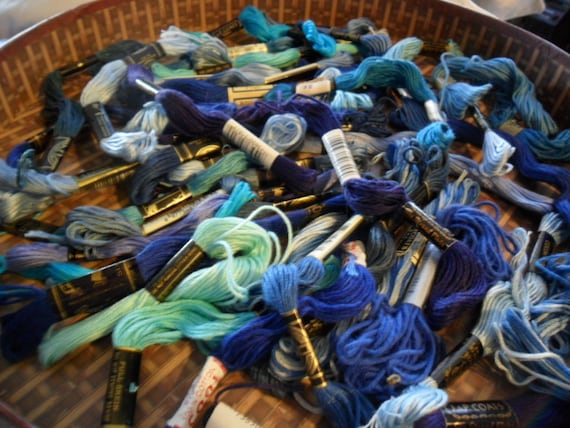 Vintage Embroidery Floss - all blues - at least 45