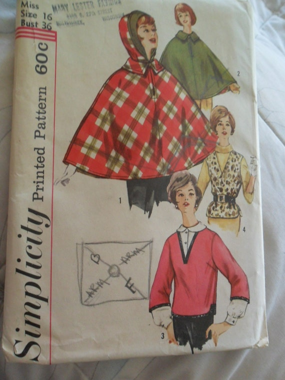 Vintage Simplicity pattern 4075 - Misses Hooded/unhooded Cape - Poncho