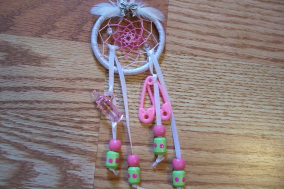Dream catcher for BABY GIRL to hang on wall above Crib or cradle for Sweet dreams