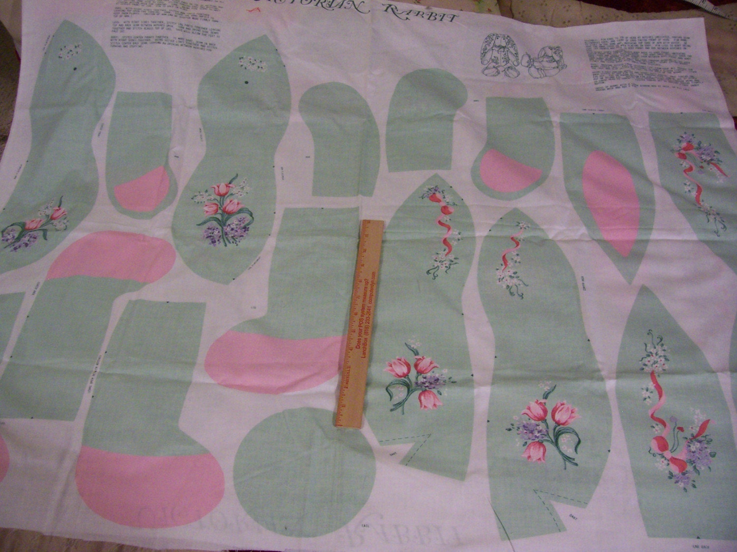 victorian rabbit fabric pattern to sew and stuff green with