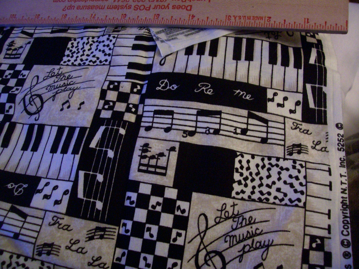 Music Themed Print Cotton Fabric Let The Music Play Black