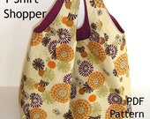 Tote Sewing Pattern - Reversible T-Shirt Shopper - PDF Bag Pattern, INSTANT DOWNLOAD