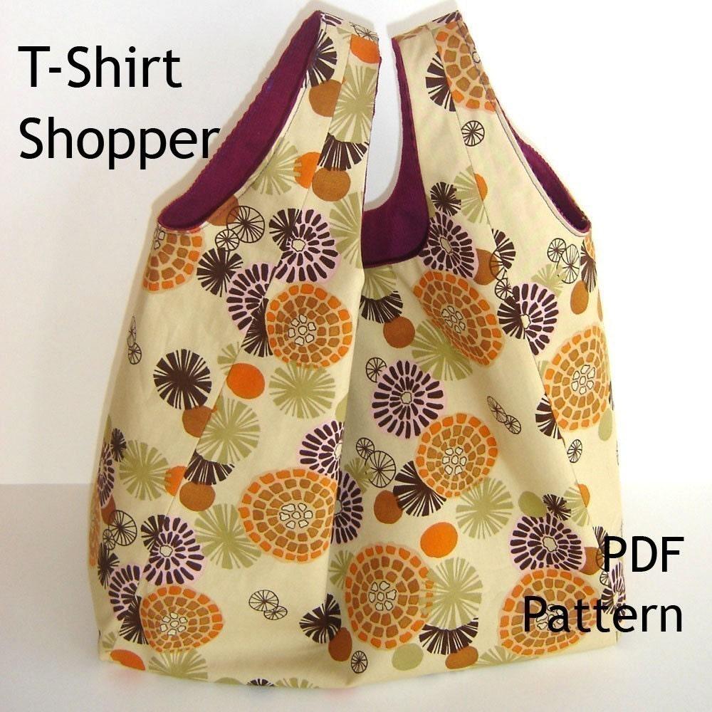 Tote Sewing Pattern Reversible T Shirt Shopper Pdf Bag