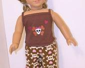 Pajamas for American Girl doll- Skulls and Hearts