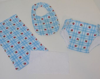 Bitty Baby Essentials in Cherry Pie- Diaper, Bib, Burp Cloth and diaper wipe