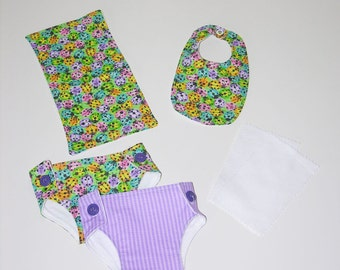 Bitty Baby Essentials in Bright Ladybugs- Diapers, Bib, Burp Cloth and diaper wipes