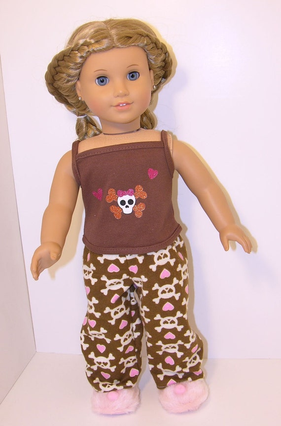 Pajamas for American Girl doll- Skulls and Hearts