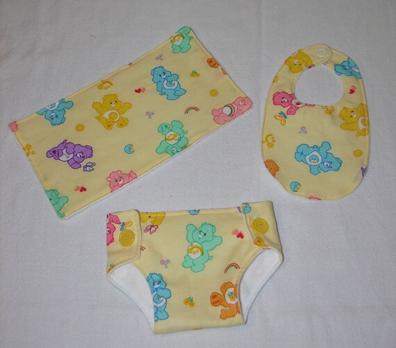 Bitty Baby Essentials in Carebear Baby- Diaper, Bib and Burp Cloth