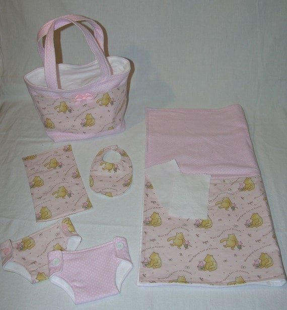 Bitty Baby Basics in Pooh and Piglet- Diaper Bag and Diapers with Blanket