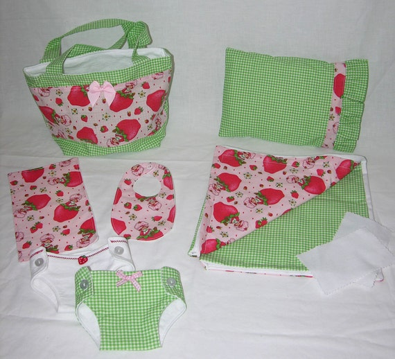 Bitty Baby Basics in Vintage Strawberry Shortcake- Diaper Bag and Diapers with Blanket