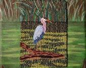 GREAT BLUE HERON beaded bird painting on canvas 8x10 mixed media nature art
