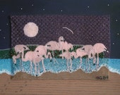 Pink Flamingo Painting Bead Embroidery on Canvas Beaded Bird Art Nature Gift SALE Free shipping