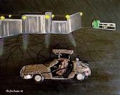 TIME TRAVELER TRILOGY beaded DeLorean & dog triptych art 16 x 60