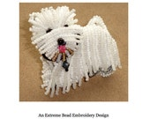PDF file: WESTIE Dog Pin Pendant Beaded Animal Beading Pattern Tutorial (For Personal Use Only) Free Ship