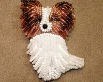 Sitting PAPILLON beaded dog pin pendant art necklace jewelry (Made to Order)