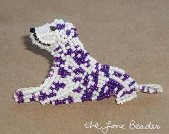 PURPLE DALMATIAN keepsake beaded dog pin jewelry brooch/ Ready to ship (a)