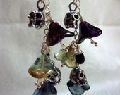 Deadly Nightshade Earrings - Purple, Green and Blue Flowers with Silver Skulls