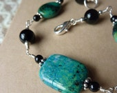 Bright Blue and Green Bracelet with Black Onyx and Silver