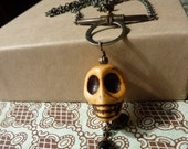 Orange Day of the Dead Skull Necklace with Brass