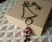 Pink Day of the Dead Skull Necklace with Brass I