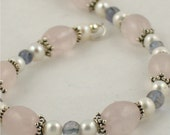 Pretty in Pink Bracelet - Rose Quartz, Ioite and Pearls
