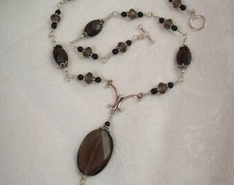 Elegant Smokey Quartz and Silver Necklace