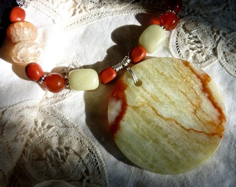 Bold Necklace in Serpentine, Carnelian, Red Jasper and Fire Agate