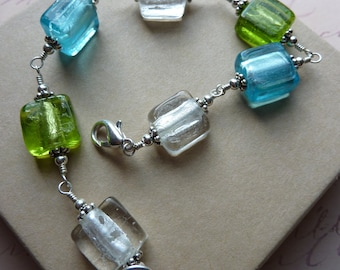 Bright Lampwork Glass Bracelet in Blue, Green and White with Silver