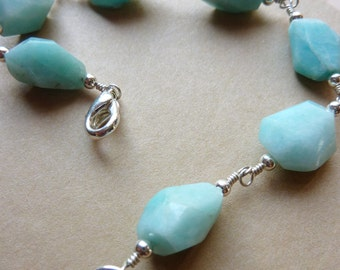 Amazonite Nugget Bracelet with Sliver