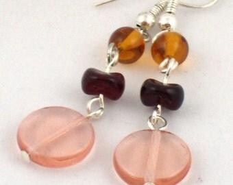 Vintage Glass Earrings in Pink and Orange