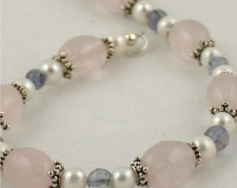 Pretty in Pink Bracelet - Rose Quartz, Ioite and Pearls