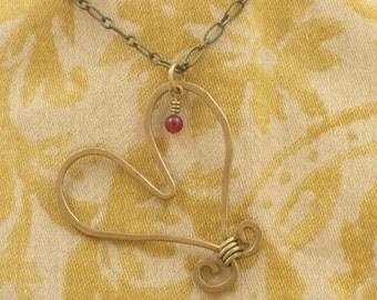 Hammered Brass Heart with Garnet Drop