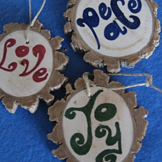 Wooden Word Ornaments -- Love, Joy, and Peace