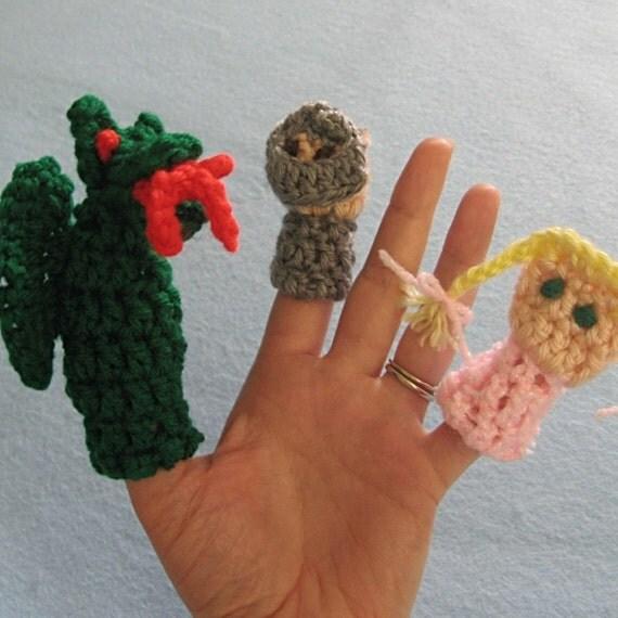 Three Fairy Tale Finger Puppets -- Crochet Pattern -- Instant Digital Download
