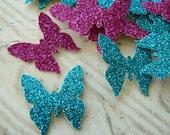 100 Pink & Blue Glitter Butterflies