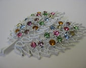 White Leaves with Colorful Sparkles - brooch