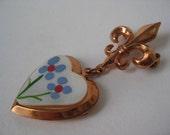 Fleur de lis Heart Locket Brooch Copper Flower Dangle Vintage Fort Wilkins Michigan