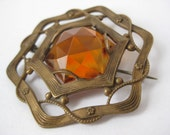 Faceted Amber Hexagon - vintage brooch