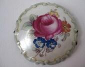 Porcelain Round Floral - vintage brooch