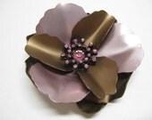 Brown and Pink with Twinkle Flower - vintage brooch