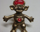 Troll Gold Pink Tie Tack Pin