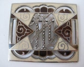 Art Deco Brooch Marcasites Enamel Brown Off White Pin