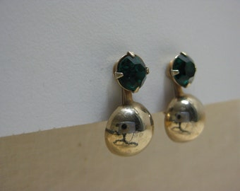 Green Gold Rhinestone Earrings Screw