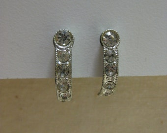 Silver Rhinestone Earrings Screw